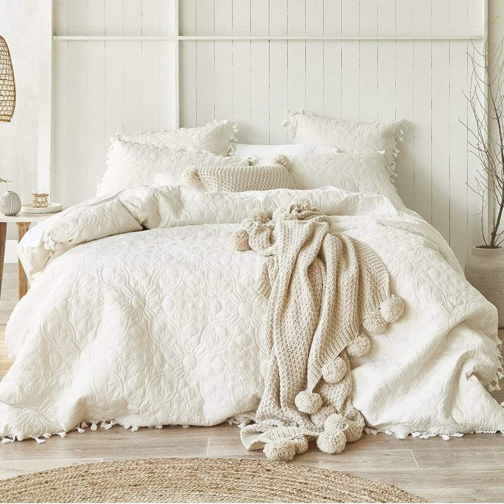 MyHouse Breanna Double Bed Quilt Cover Set Silk Cream