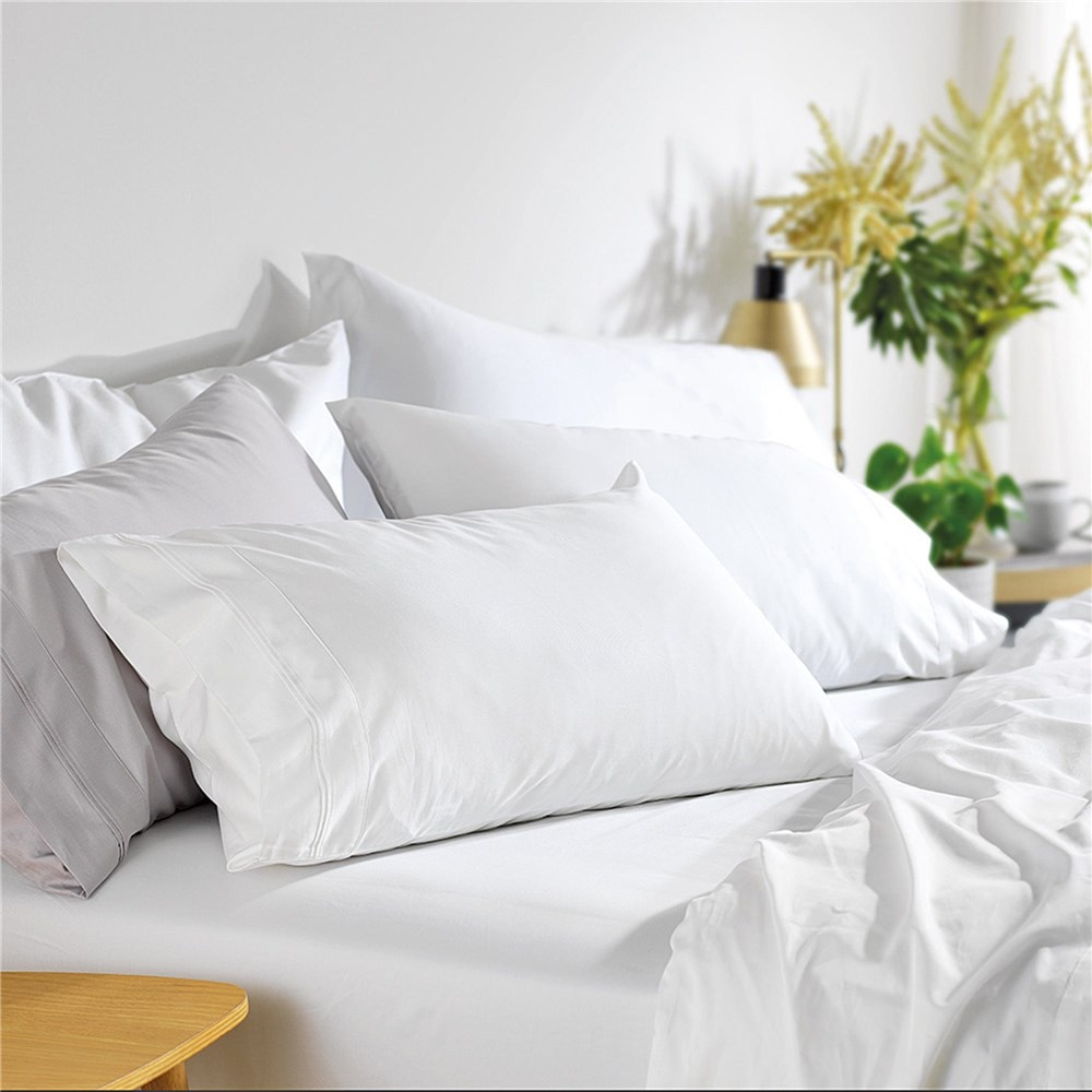 MyHouse Riley Bamboo Cotton Queen Bed Sheet Set White