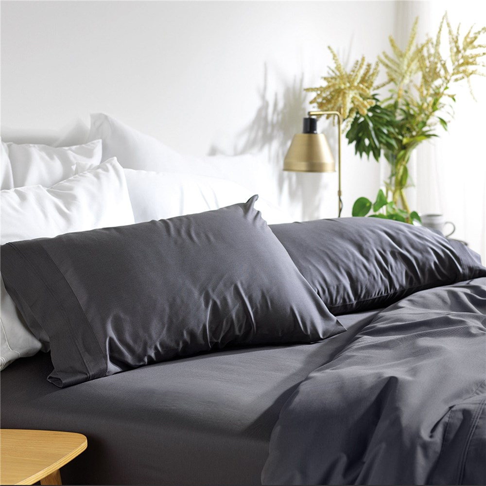 MyHouse Riley Bamboo Cotton Super King Bed Sheet Set Graphite