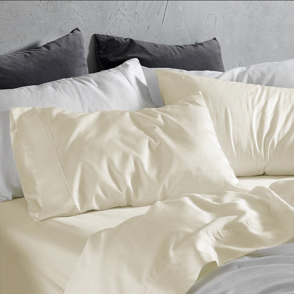 MyHouse Reyne Tencel King Bed Sheet Set Silk Cream
