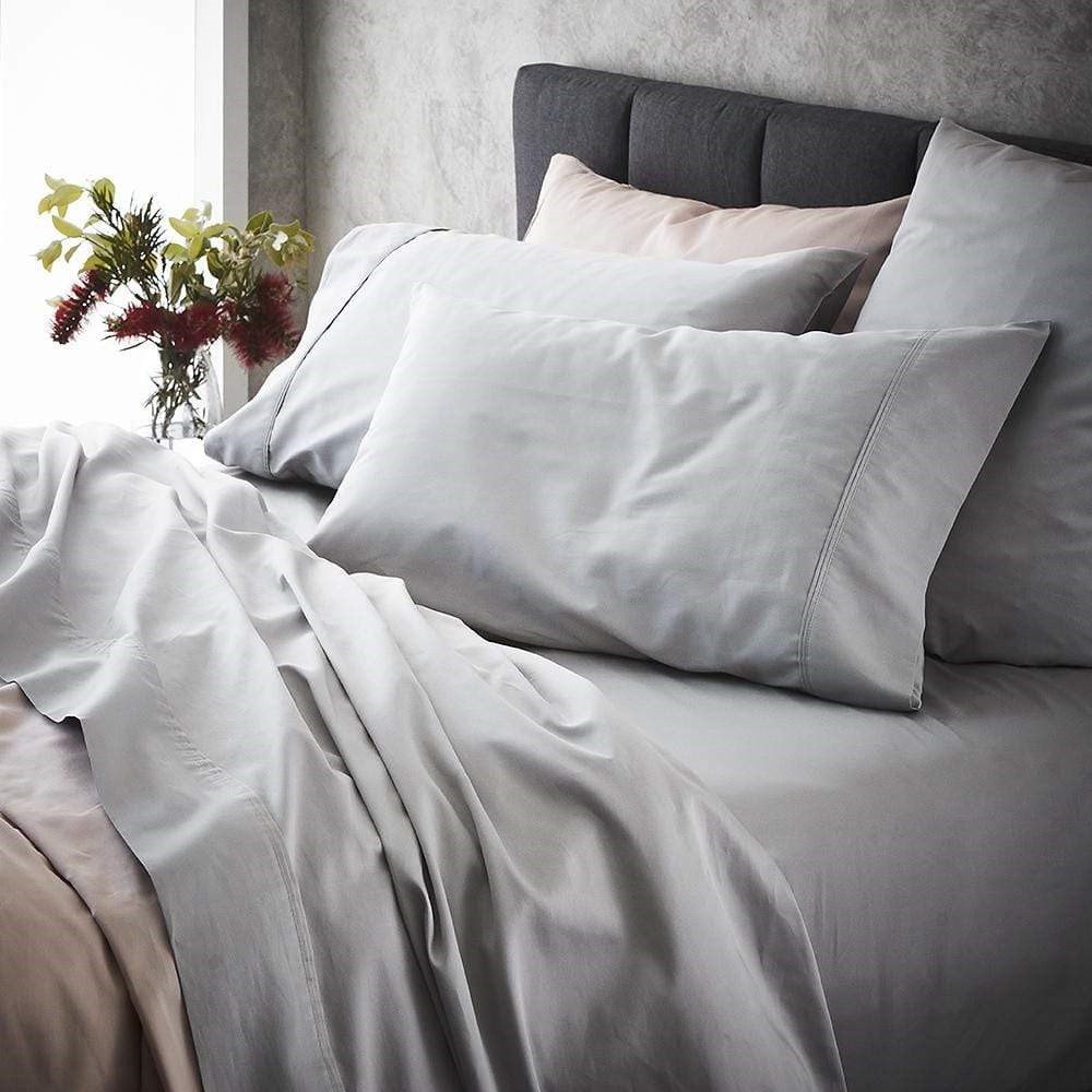 MyHouse Ashton Queen Bed Sheet Set Light Grey