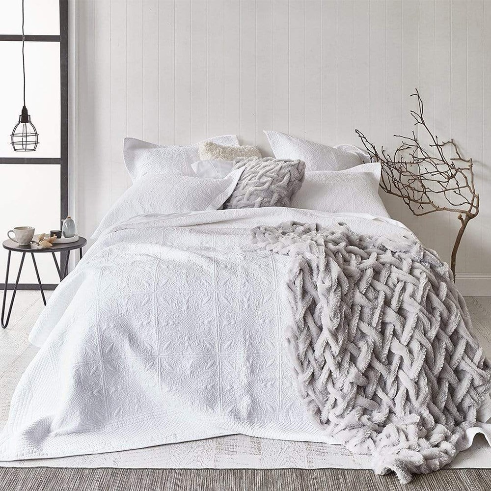 MyHouse Florence King Bed Coverlet Set White