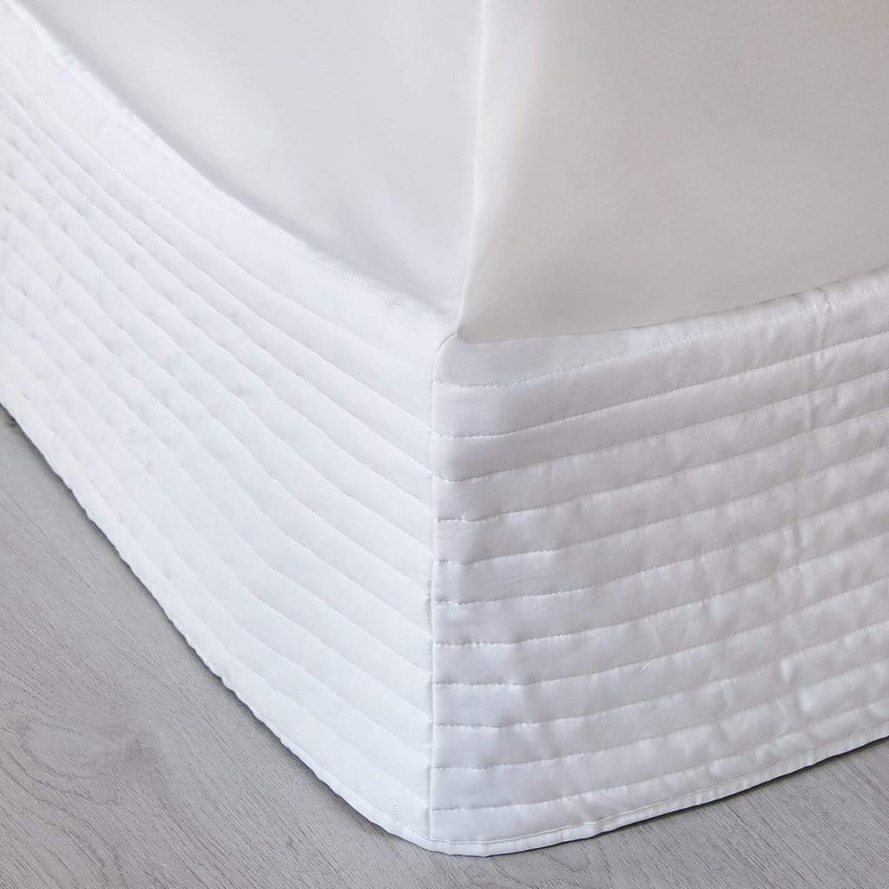 MyHouse Ashton Quilted Valance Queen Bed White