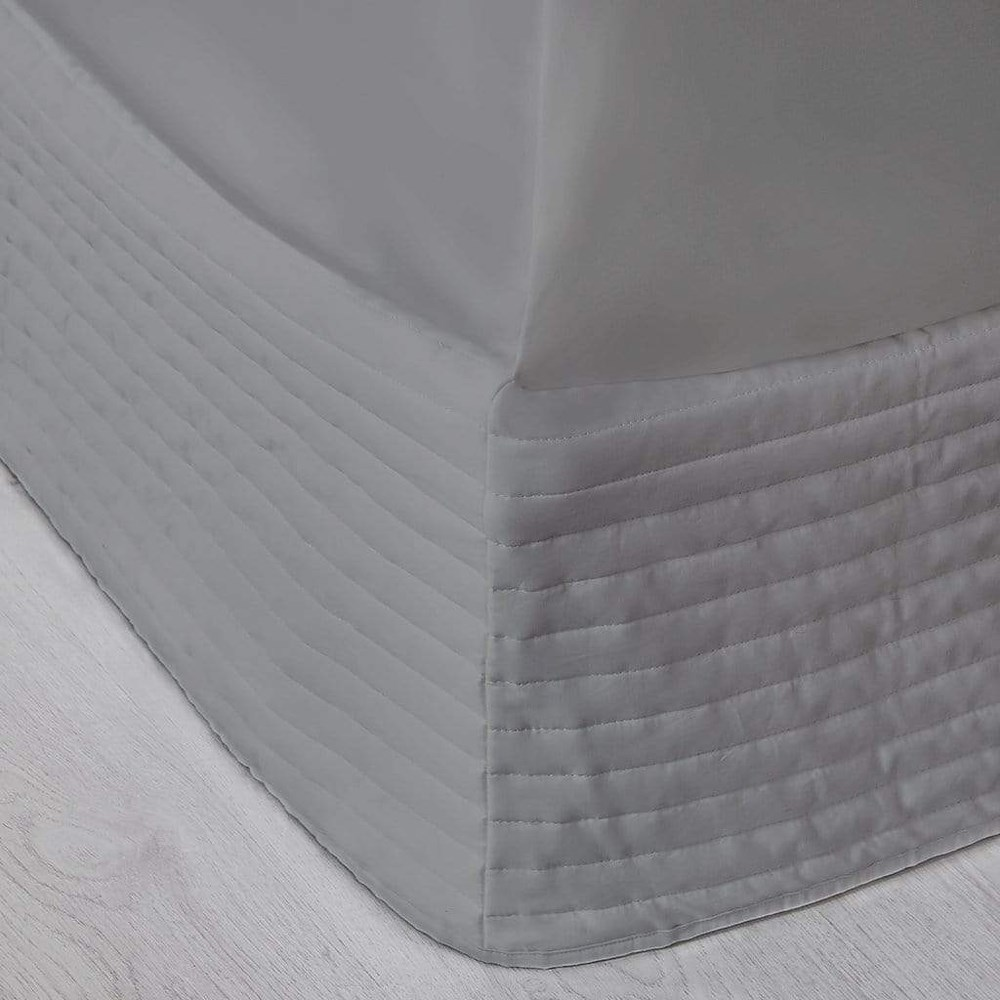 MyHouse Ashton Quilted Valance Queen Bed Light Grey