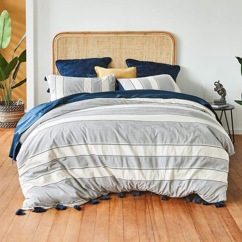 MyHouse McKensie Double Bed Quilt Cover Set Dark Blue