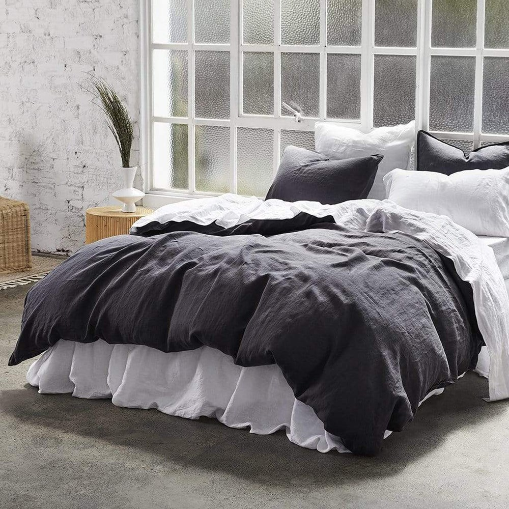 MyHouse Vintage Queen Bed Quilt Cover Set Dark Grey
