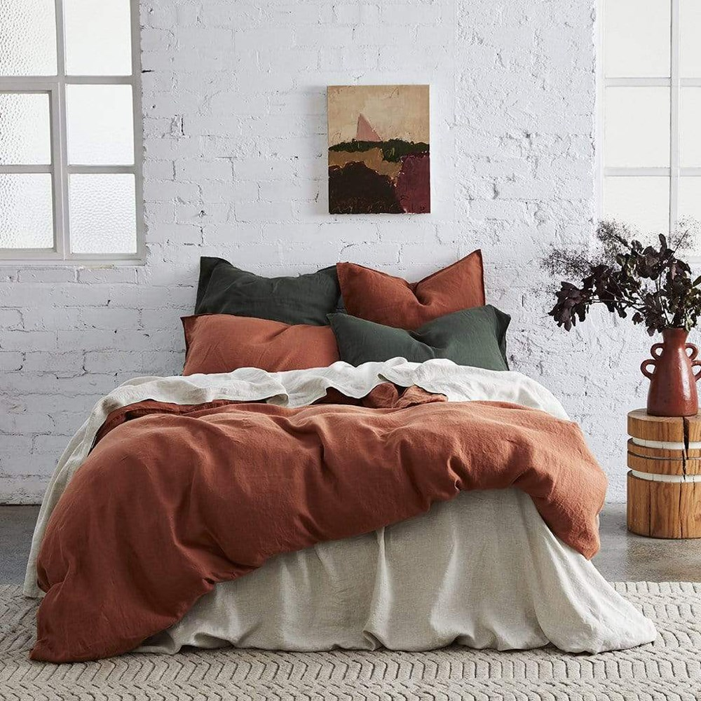 MyHouse Vintage Queen Bed Quilt Cover Set Orange