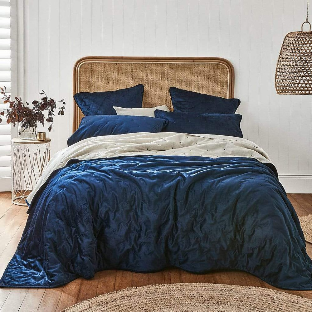 MyHouse Maddox King Bed Coverlet Dark Blue