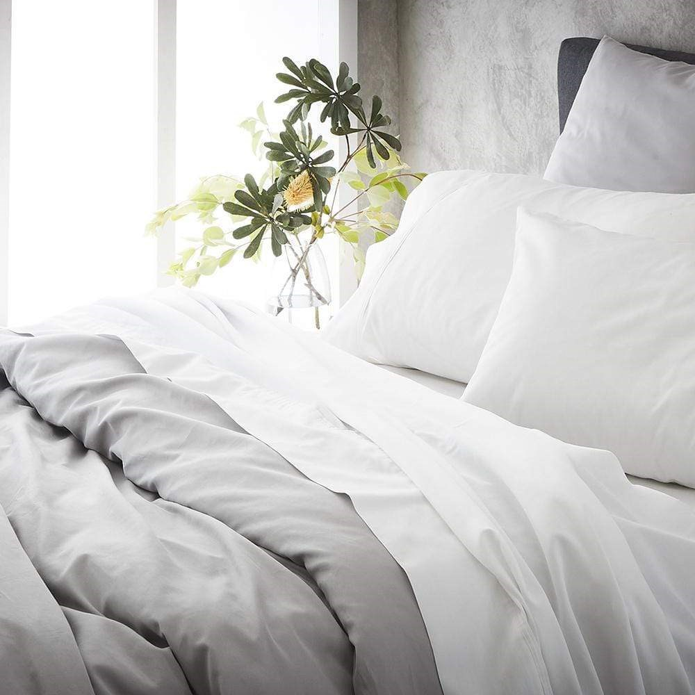 MyHouse Ashton Super Queen Bed Sheet Set White