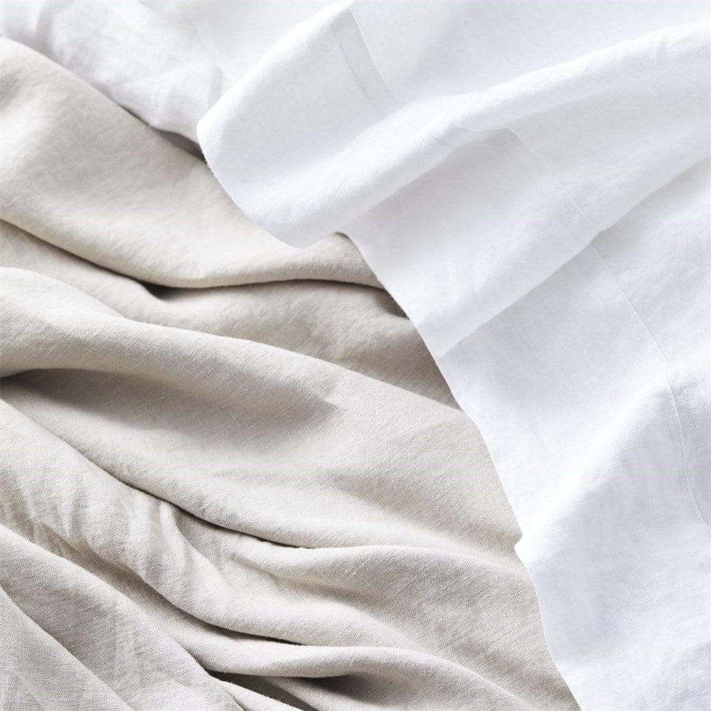 MyHouse Linen Fitted Sheet Super King White