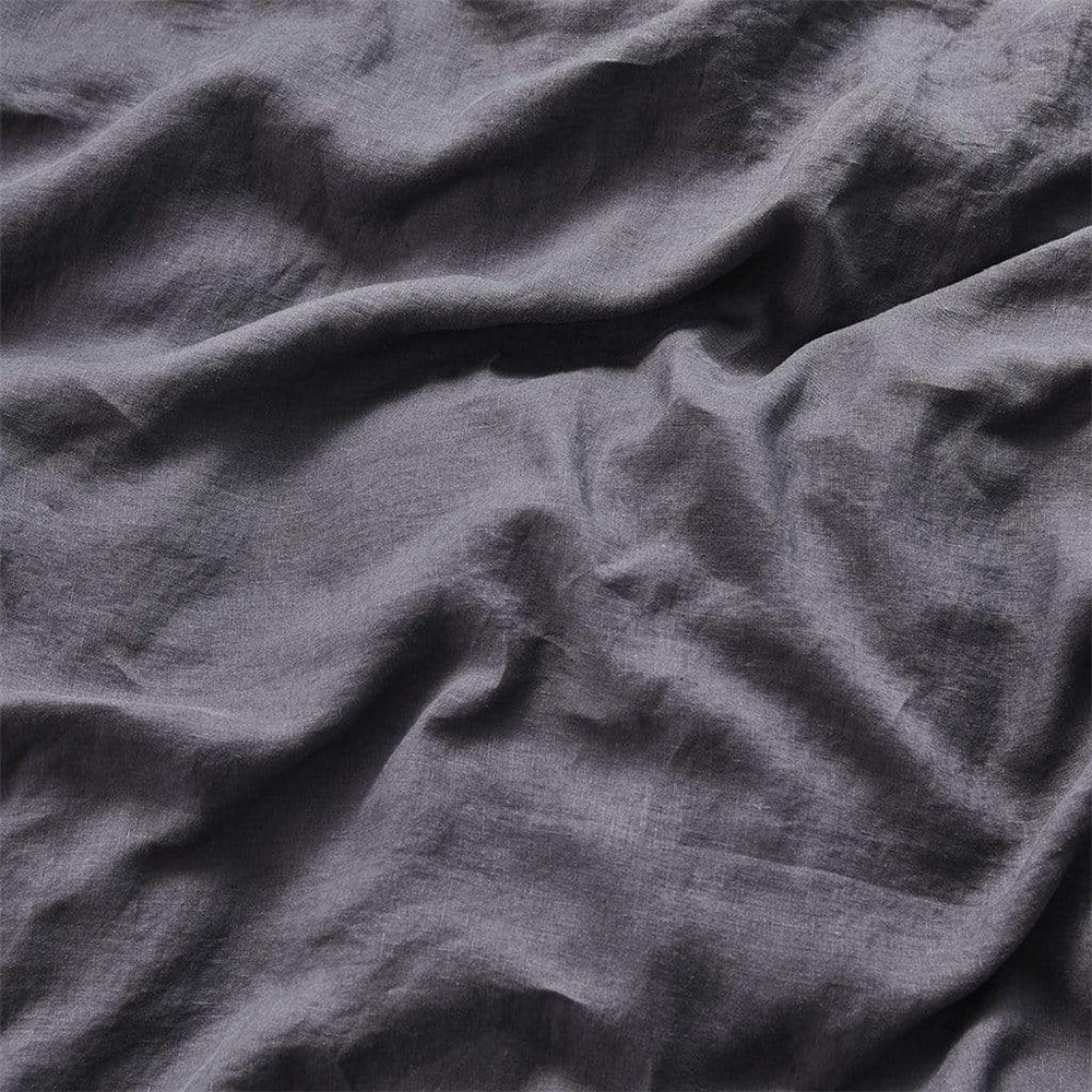 MyHouse Linen Fitted Sheet Queen Charcoal