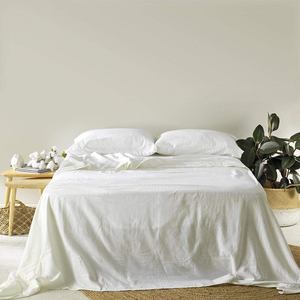 MyHouse Cotton Flannelette Sheet Set Single White