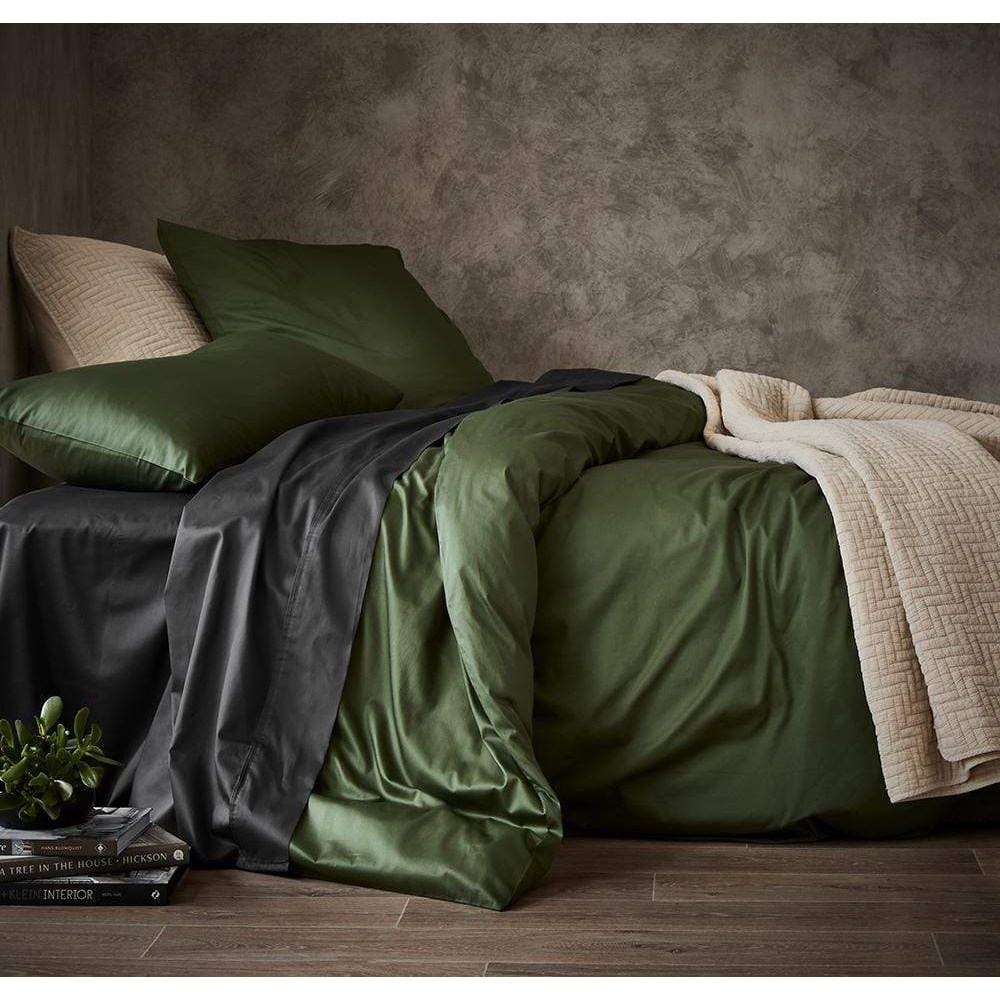 MyHouse Ashton Quilt Cover Set Queen Moss