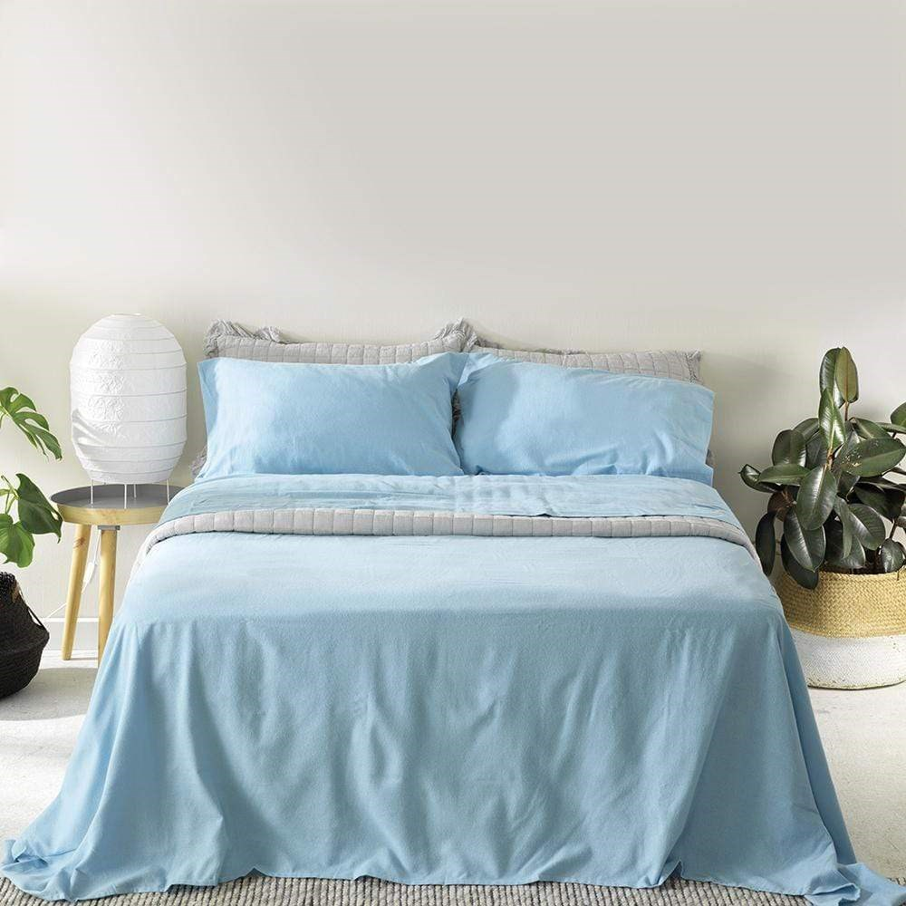 Alex Liddy Flannelette Sheet Set Single Blue
