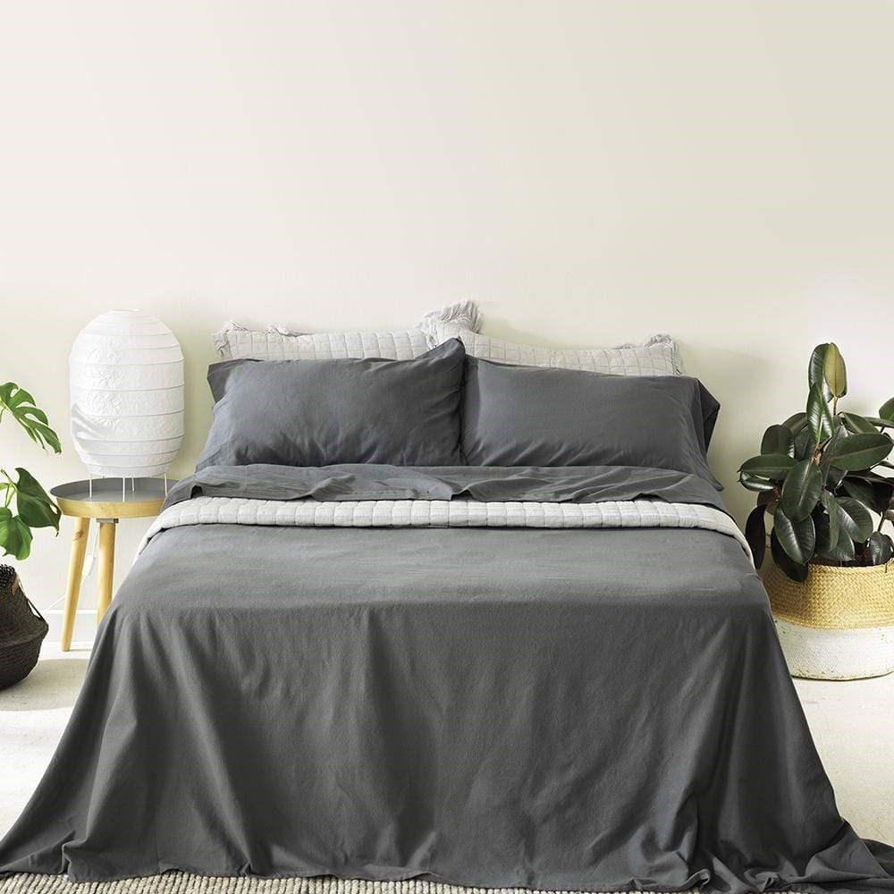 Alex Liddy Flannelette Sheet Set King Single Charcoal
