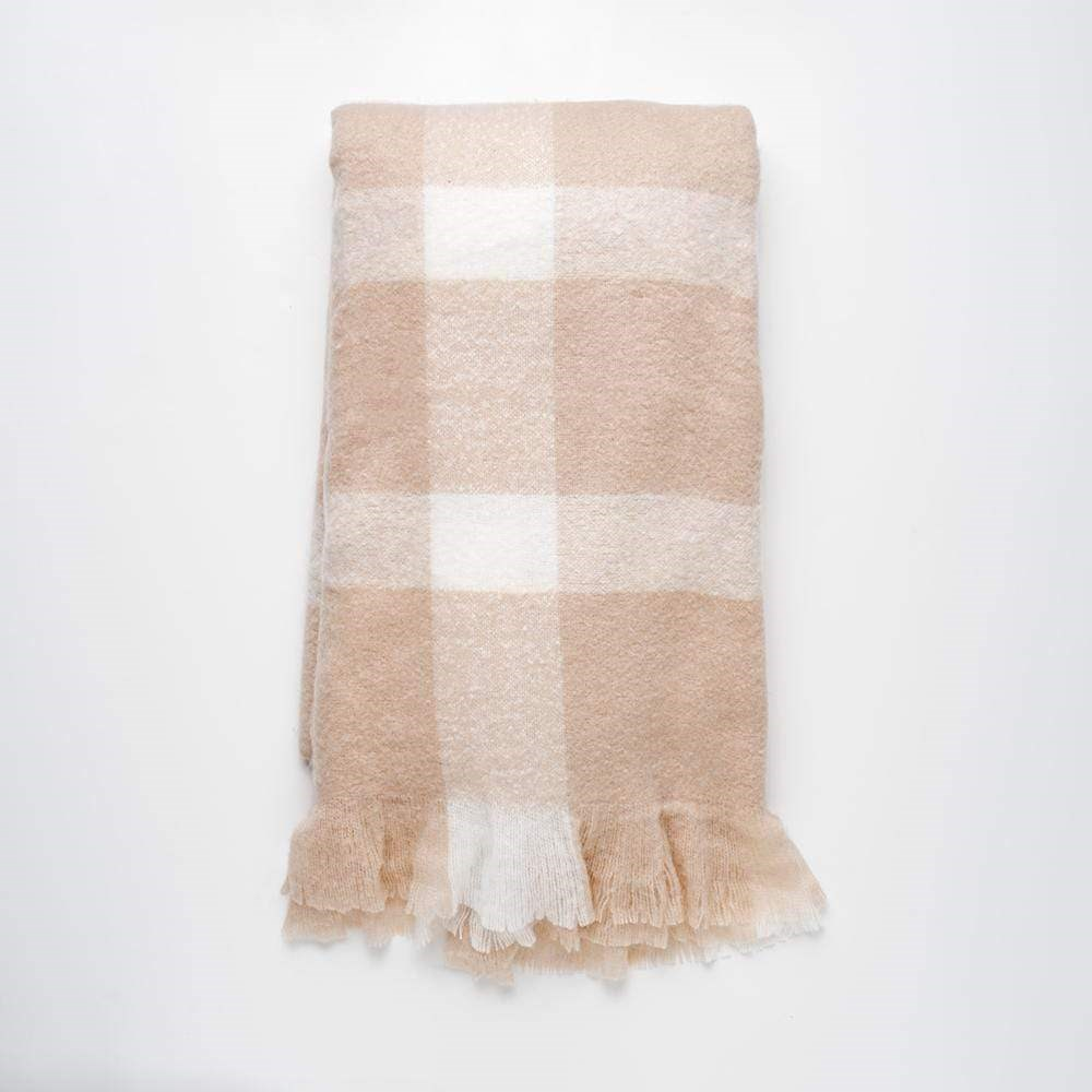 MyHouse Large Luxe Check Blanket Natural and White