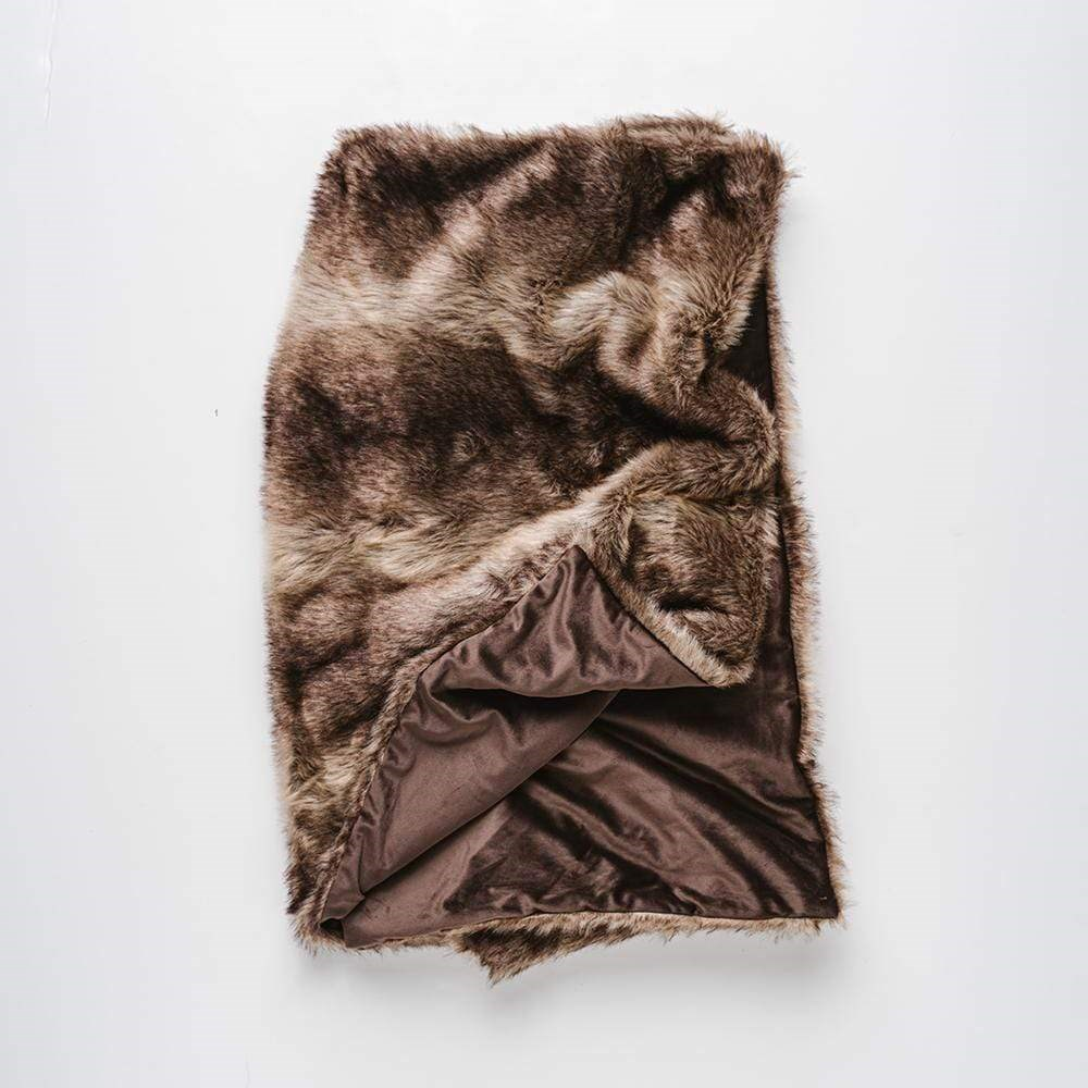 MyHouse Luxe Fur Throw Brown