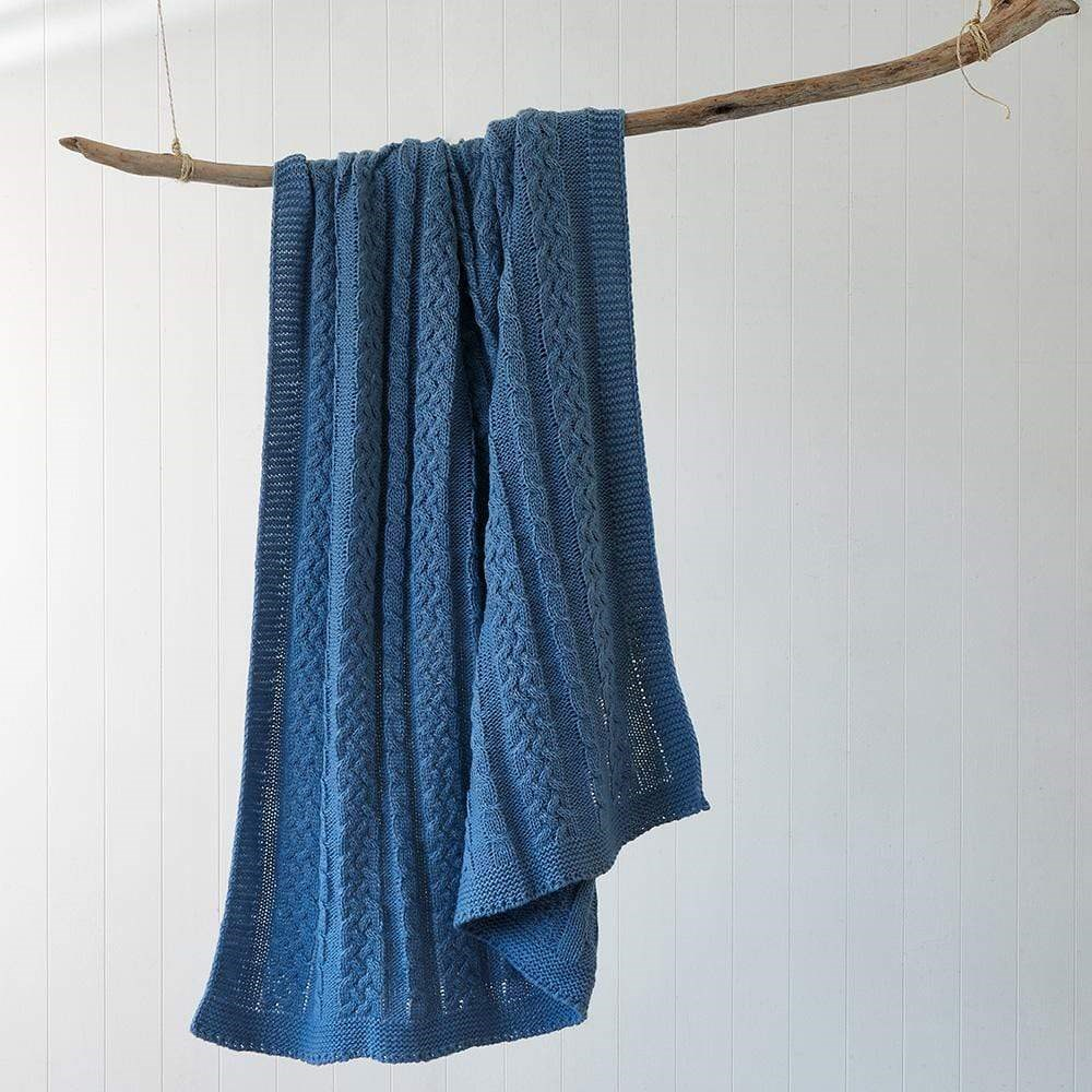 Deborah Hutton Wool Blend Cable Knit Throw Washed Blue