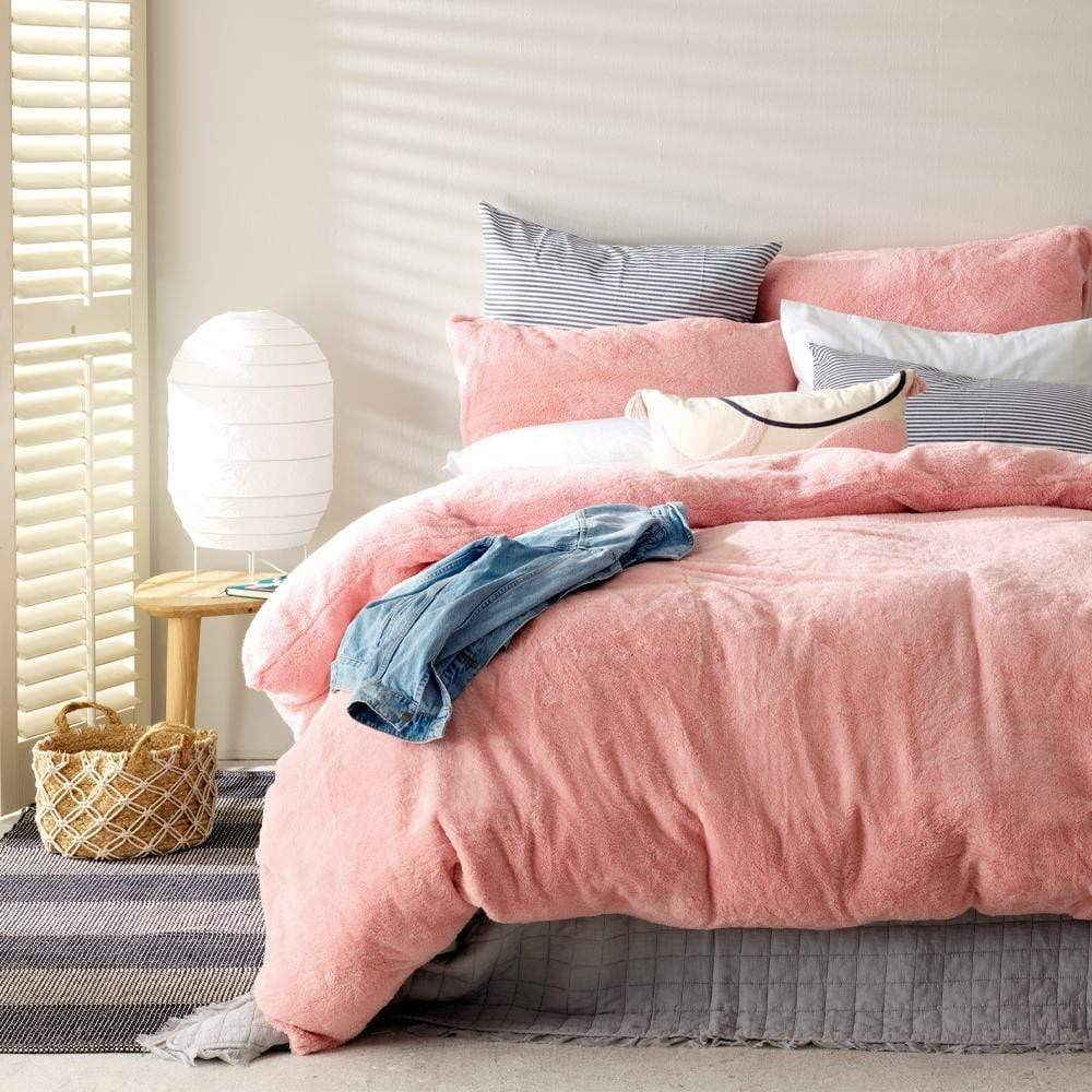 MyHouse Teddy Fleece Quilt Cover Set Double Pink