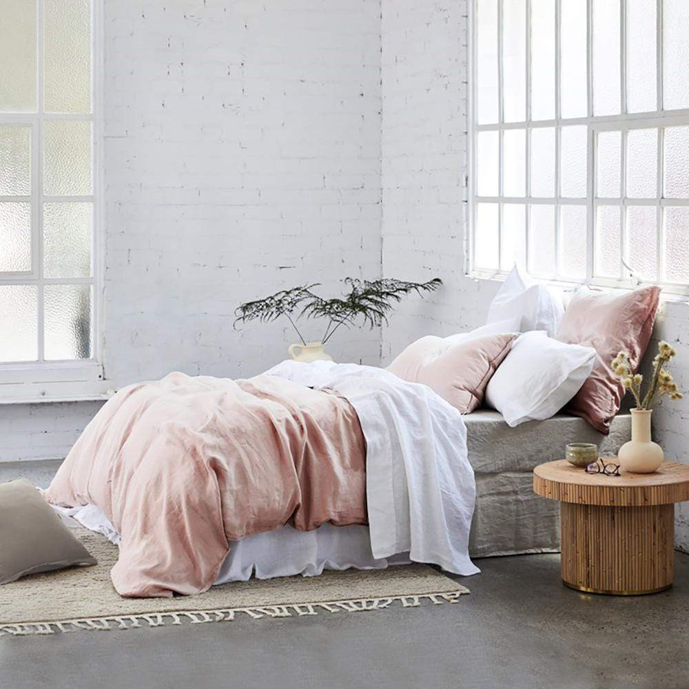 MyHouse Linen Quilt Cover Set Queen Adobe Pink