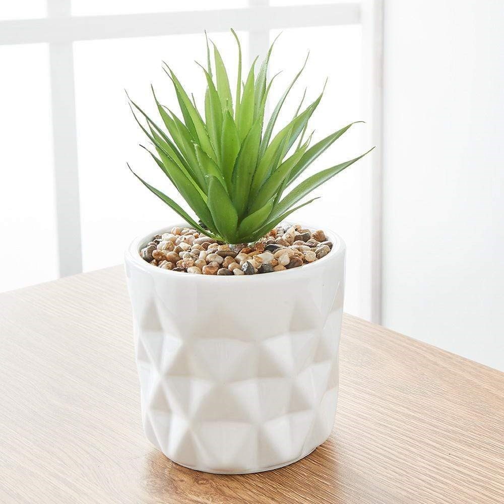 MyHouse Potted Faux Grass Plant White