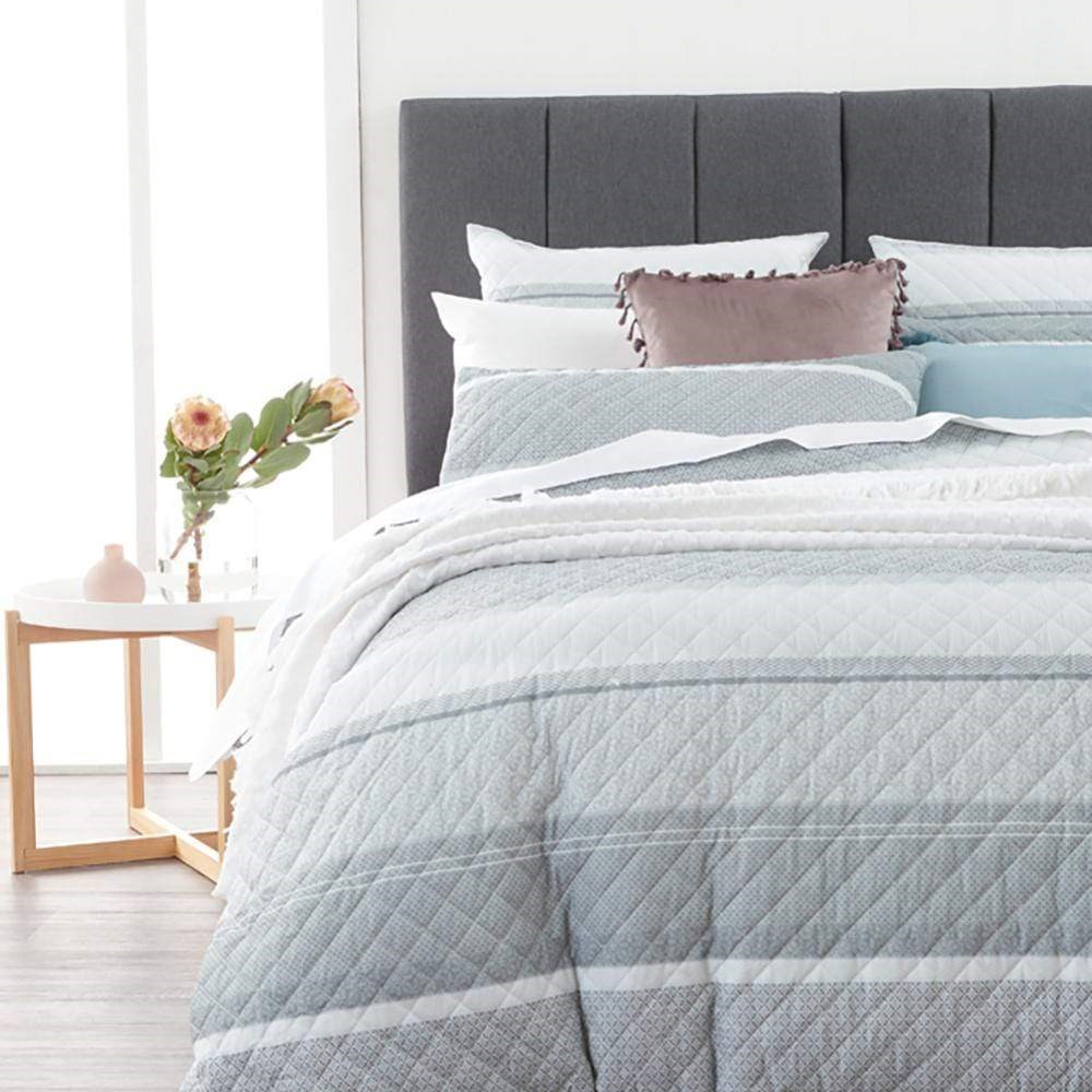MyHouse Jamie Quilt Cover Set Grey Queen