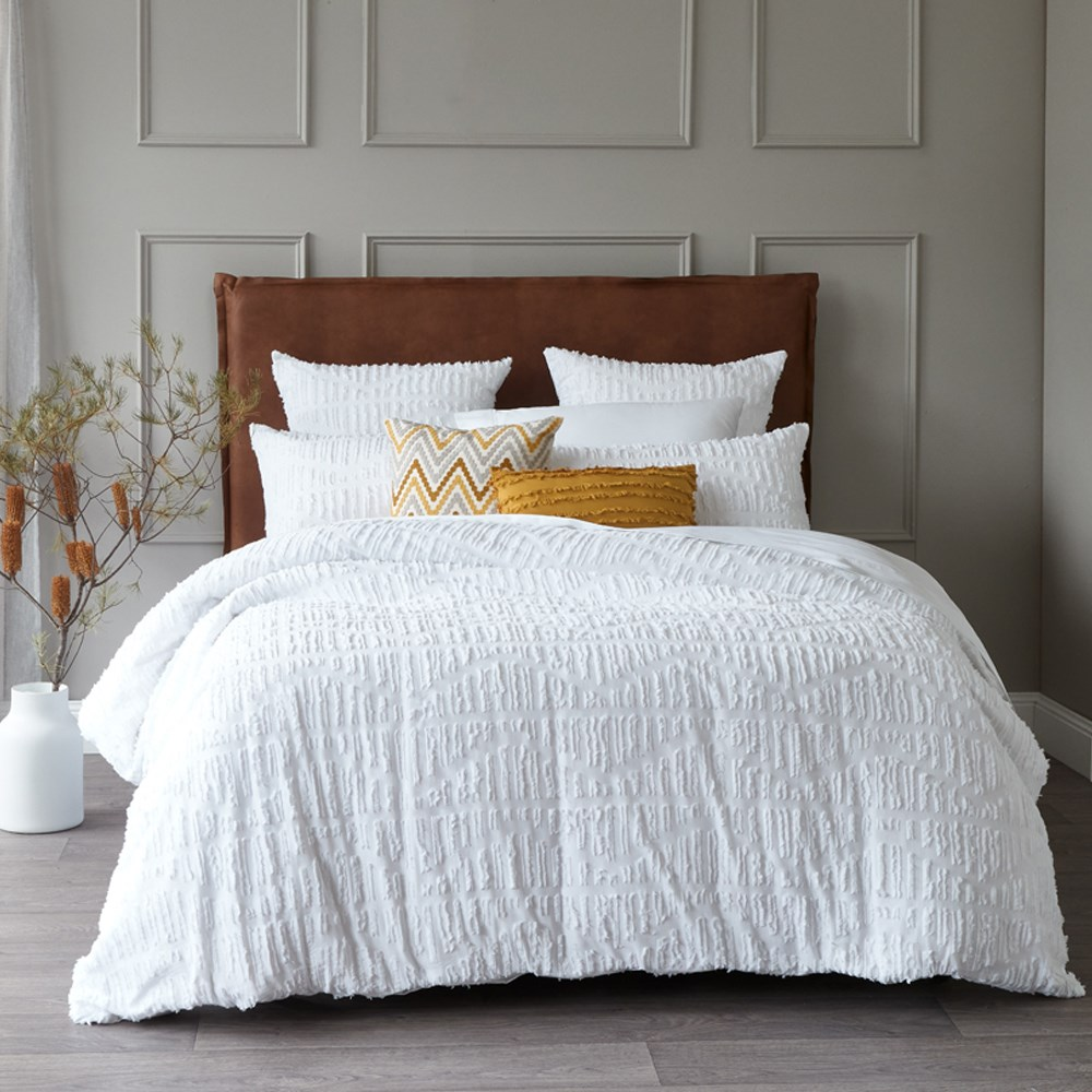 MyHouse Sadie Quilt Cover Set Queen White