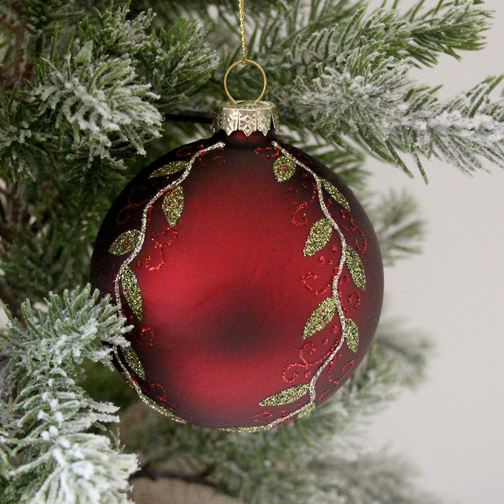 MyHouse Leaf Christmas Bauble Red
