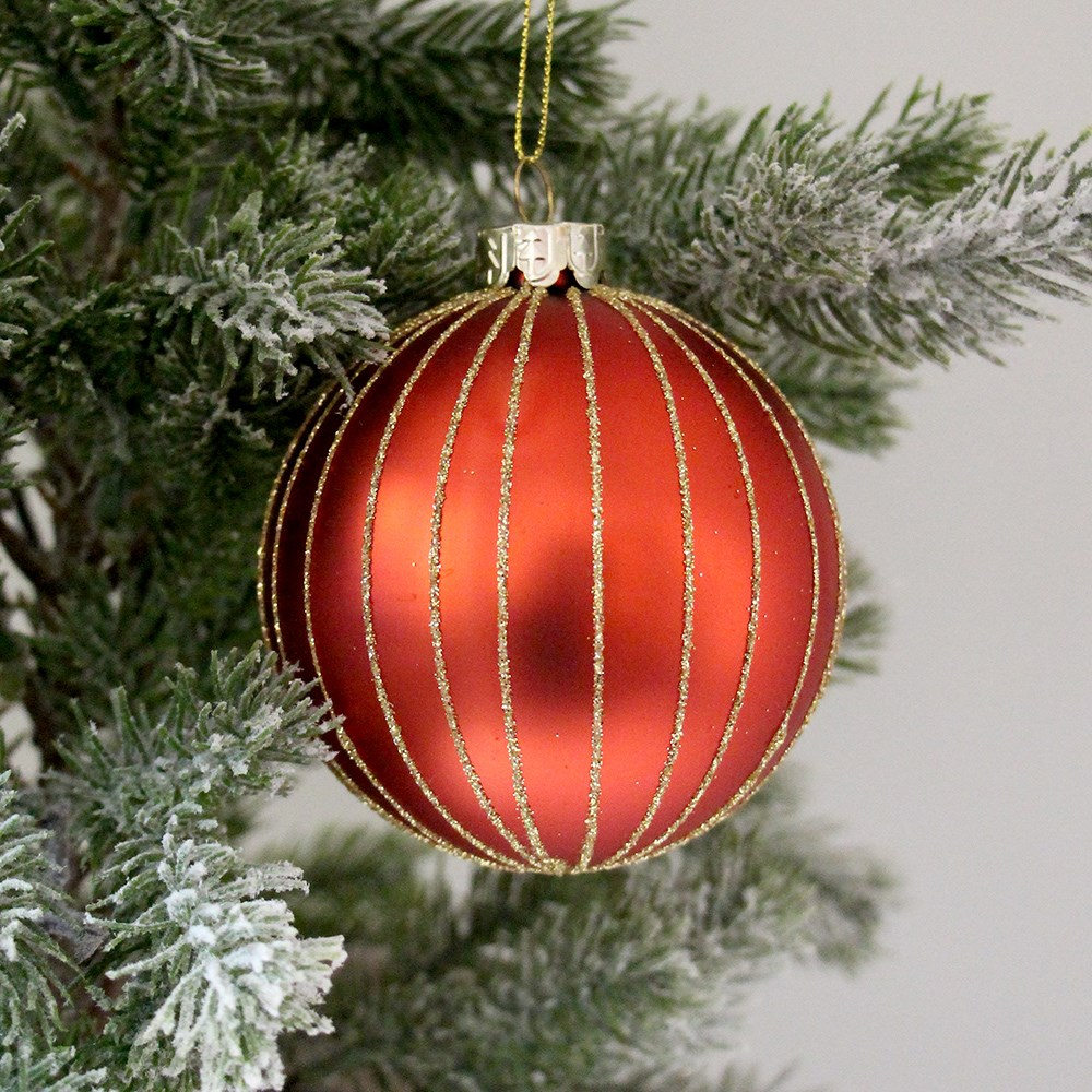 MyHouse Gold Stripe Christmas Bauble Red