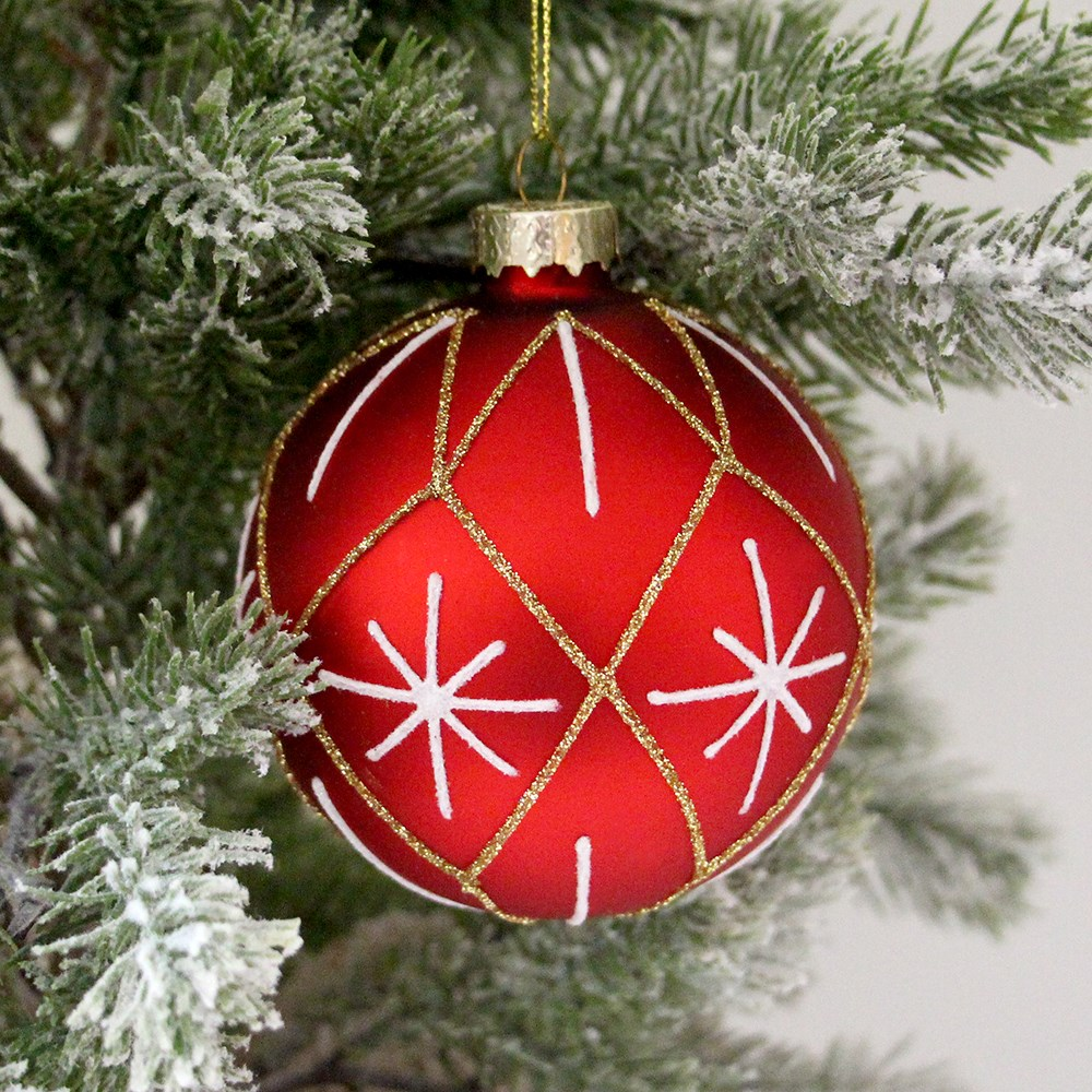 MyHouse Starburst Christmas Bauble Red