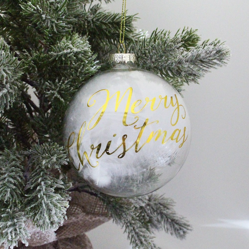 MyHouse Merry Christmas Glass Bauble White