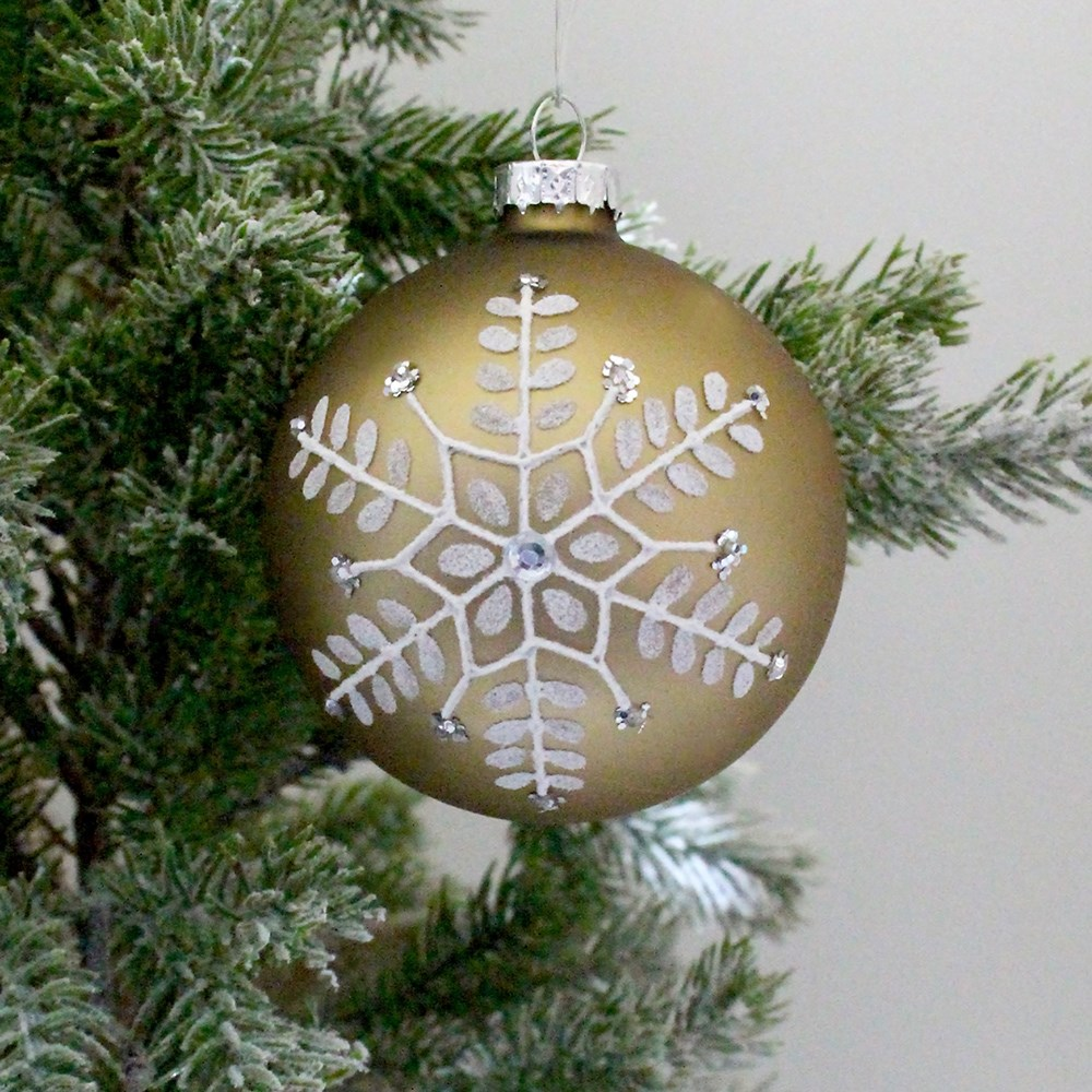 MyHouse Snowflake Glass Bauble Gold