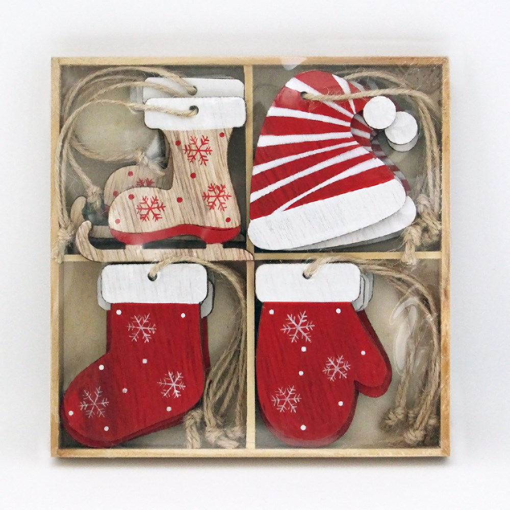 MyHouse Stocking Set Of 16 Ornaments Red and White