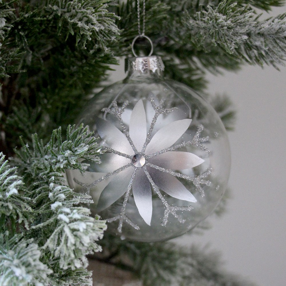 Home Beautiful Floral Glass Bauble Clear