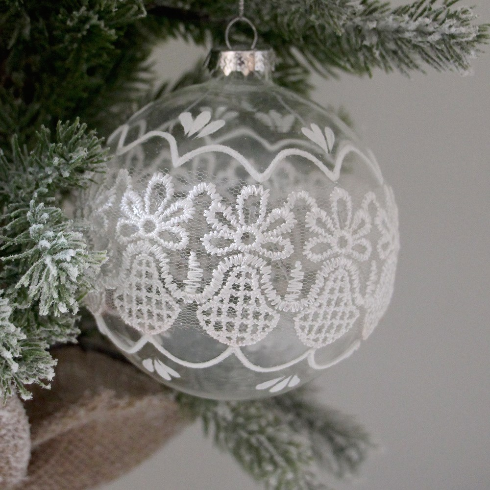 Home Beautiful Lace Glass Bauble Clear