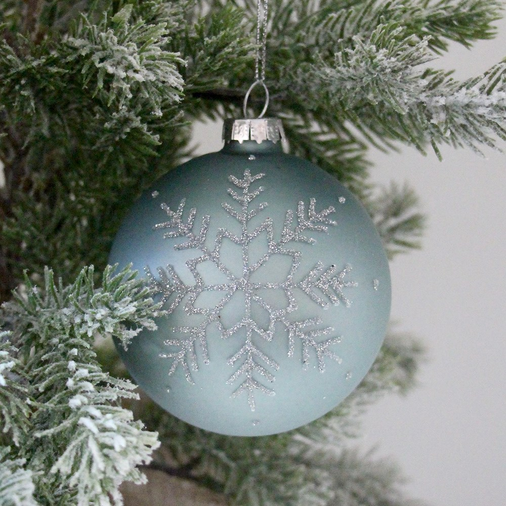 Home Beautiful Snowflake Glass Bauble Blue
