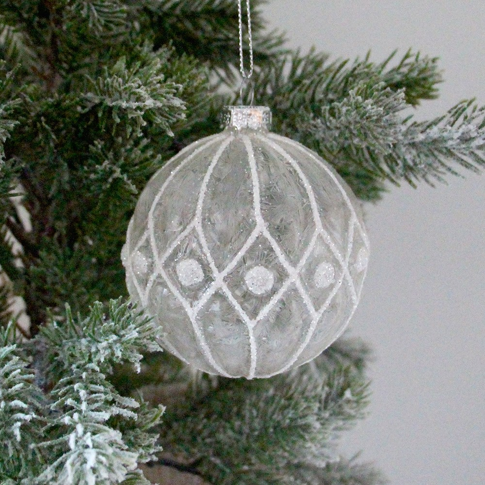 Home Beautiful Etch Christmas Bauble Clear