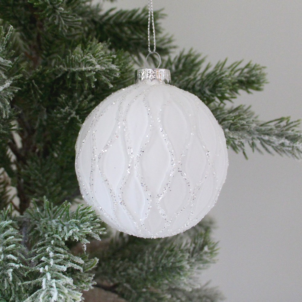 Home Beautiful Glass Bauble White