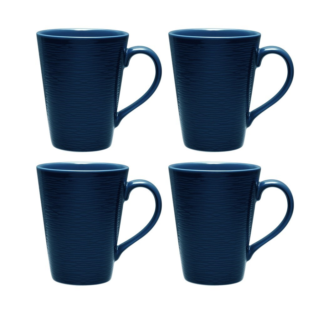 Noritake Navy on Navy Swirl Mug Set of 4