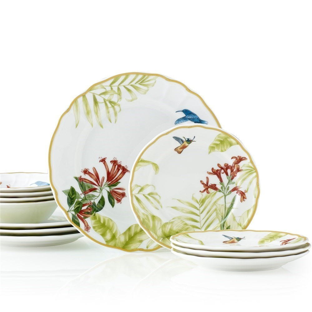 Noritake Hummingbird Meadow 12 Piece Dinner Setting for 4