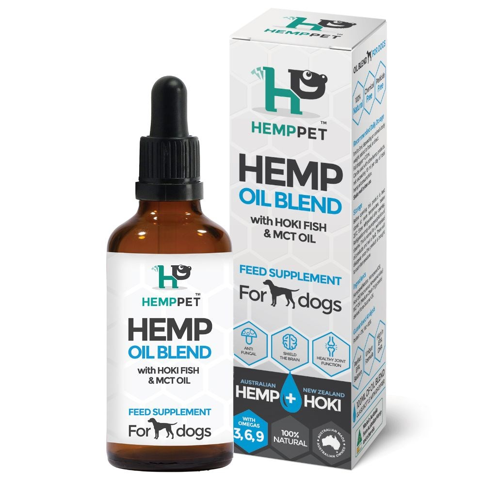 HempPet Hemp Oil Blend with Hoki Fish & MCT Oil Feed Supplement for Dogs 100ml