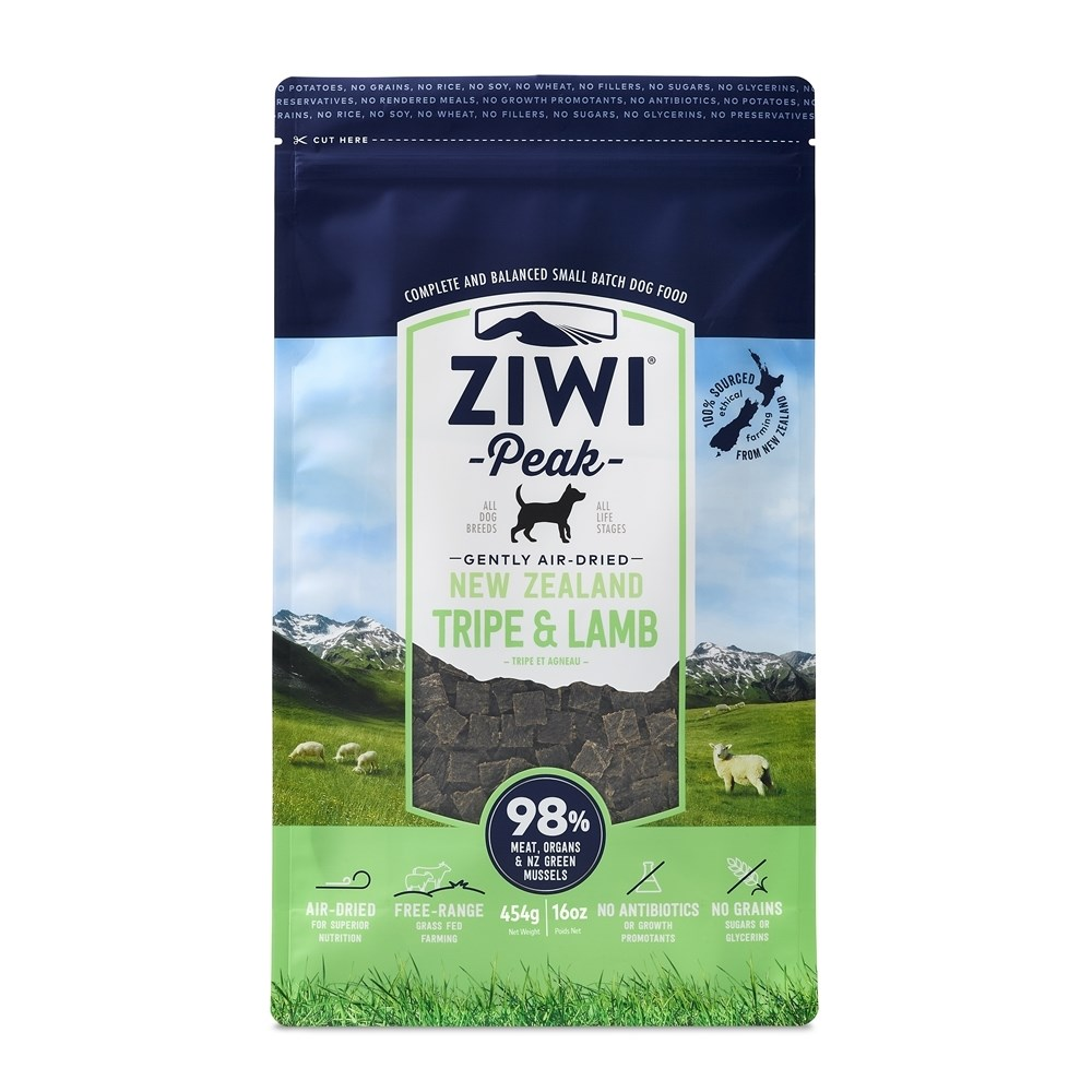 ZiwiPeak Air Dried Dog Food Tripe & Lamb 454g