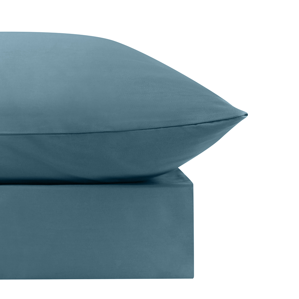 Odyssey Living Queen Bed Smokey Teal Organic Cotton Sheet Set