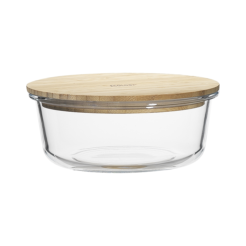 Ecology Nourish Round Glass Storage Container with Bamboo Lid 19.7cm
