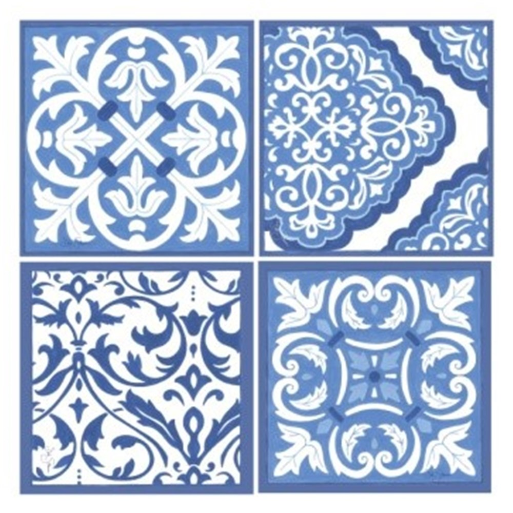 Thirstystone Blue & White Scrollwork Coasters Box of 4 Assorted