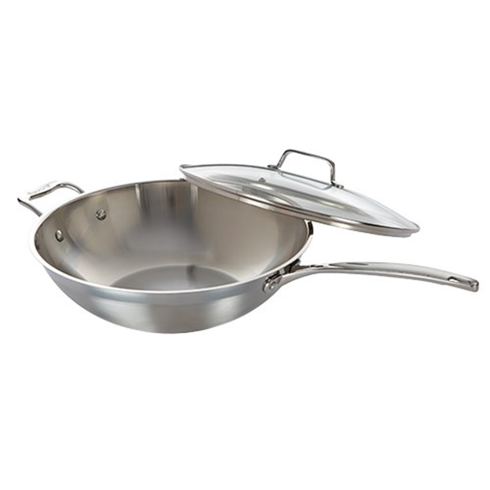 Baccarat iconiX Stainless Steel Wok with Lid & Helper Handle 32cm