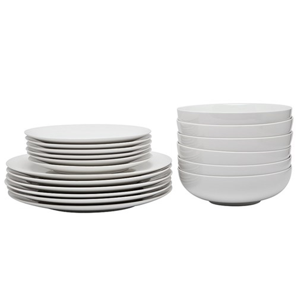 Alex Liddy Modern White Coupe 18 Piece Dinner Set