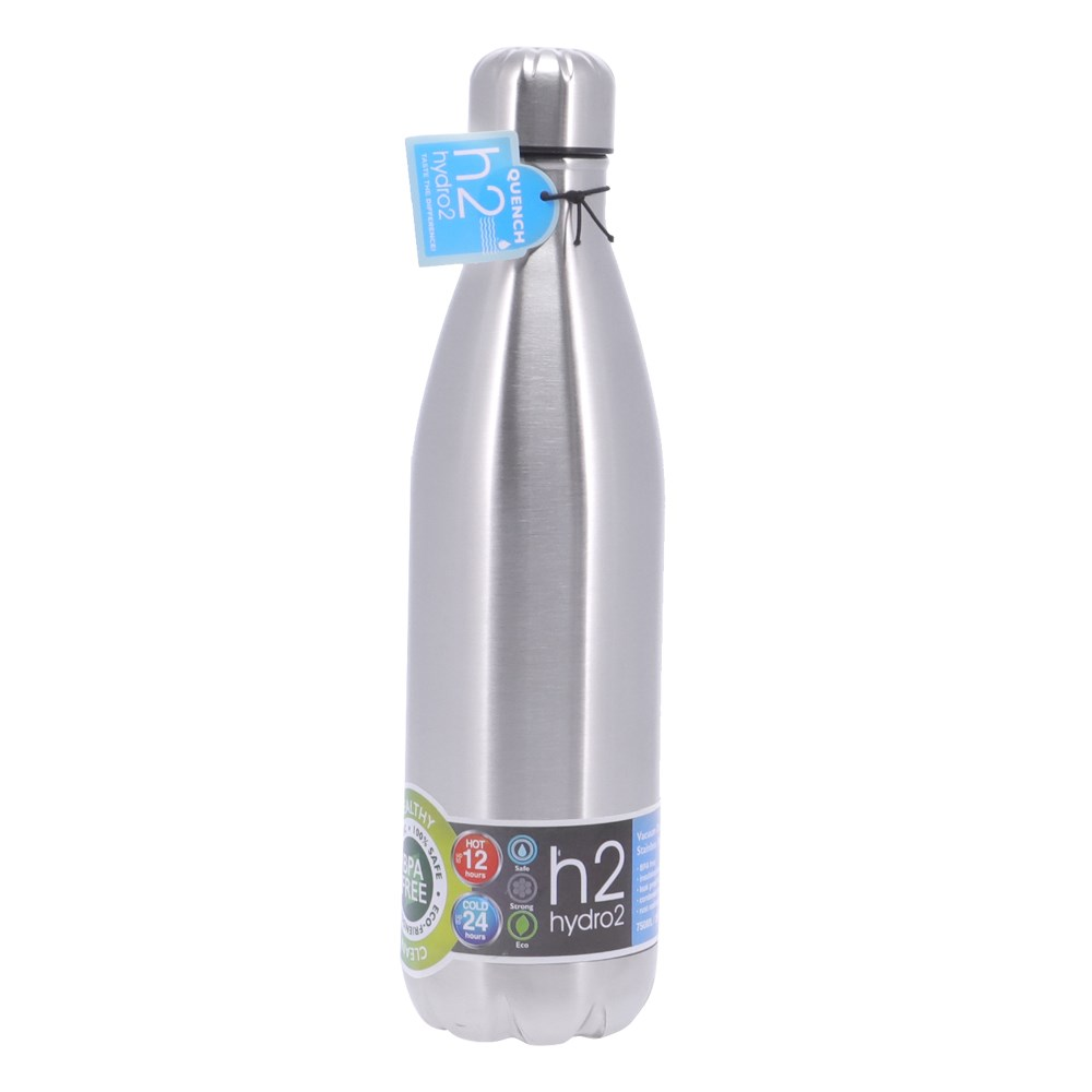h2 hydro2 Quench Double Wall Stainless Steel Water Bottle 750ml Silver