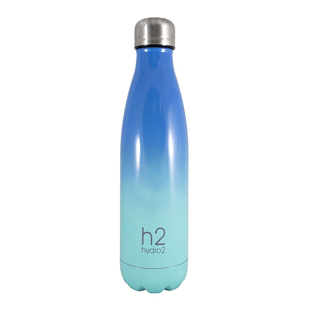 h2 hydro2 Double Wall Stainless Steel Water Bottle 500ml Blue Ombre