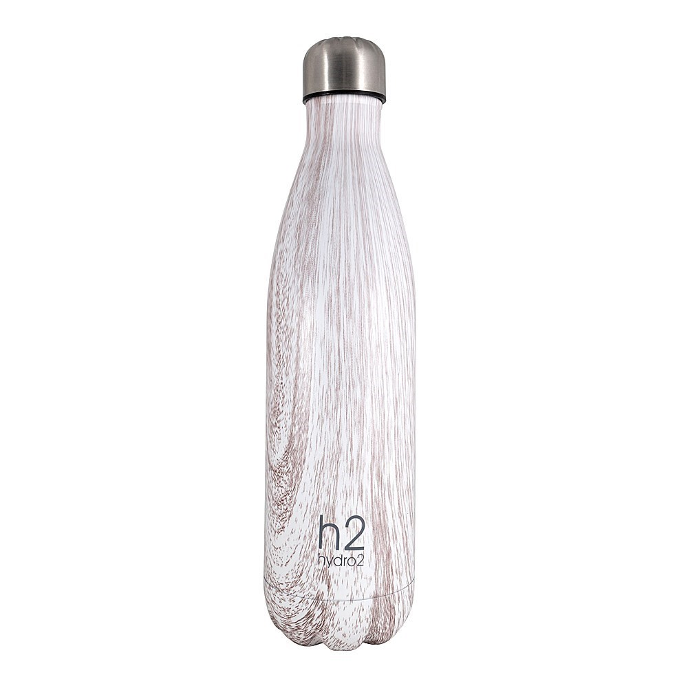 h2 hydro2 Double Wall Stainless Steel Water Bottle 750ml White Timber